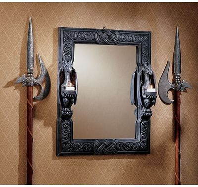 "24"" Twin Medieval Gothic Dragons Decorative Mirror with Dragon Candle Holders"