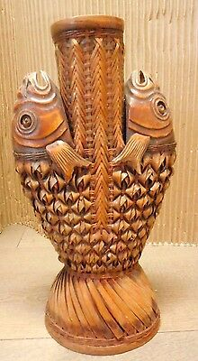 Vintage Japanese wood & bamboo wicker 2 fish heads Kaki flower vase