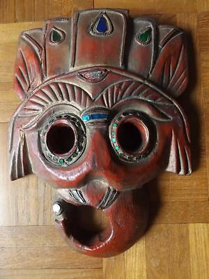 Ethnic Asian Hand Carved & Painted Wooden Face Mask Wall Plaque - Coloured Glass