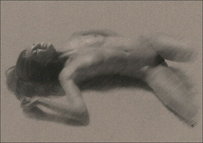 Reclining Female Nude DRAWING ORIGINAL Charcoal Chalk Art signed NO RESERVE !