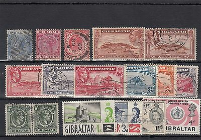 Gibraltar.17 -- Qv/qe2 Used Stamps On Stockcard