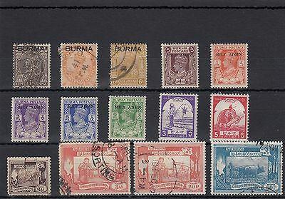 Burma. 14 --1937/54 Mounted Mint/ Used Stamps On Stockcard