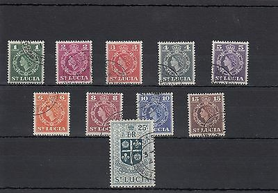 St.lucia.10 -- Early Qe2 Fine Used Stamps On Stockcard
