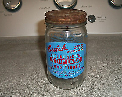 Vint Org Buick Cooling System Stop Leak & Cond. Glass Jar Can -  Good Cond