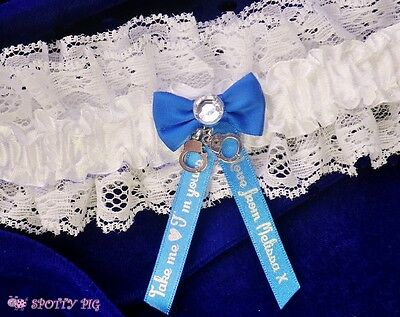 Personalised Take Me Im Yours Handcuffs Blue & White Garter Wedding Crystal Gift