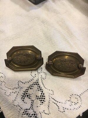 Pair Of Vintage Brass With Ornate Grapes Draw Handles