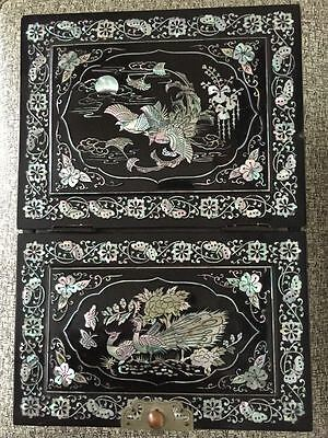 Vintage Black Lacquer Box Mother of Pearl Inlay Large Jewelry Make Up Mirror
