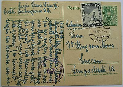 Austria. Uprated, censored stationery card sent from Vienna to Lucern. 1946.