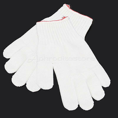 1 Pair Heat Resistant Oven Gloves Pot Holder Home Kitchen Cooking Mitts White