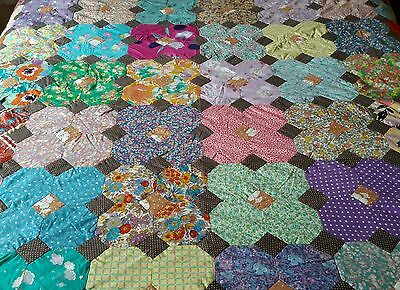 VINTAGE MID CENTURY 60s FABRIC HAND MADE STITCHED LARGE PATCHWORK QUILT COVER