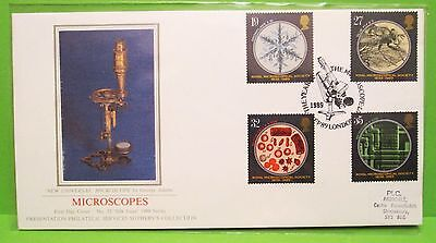 GB SOTHEBY'S SILK FDC1989 THE YEAR of  THE  MICROSCOPES  -  SHS VGC (66)