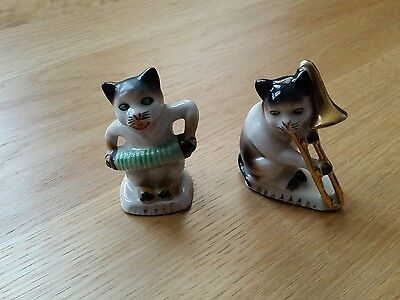 Vintage Ceramic Musician Musical Trombone Squeeze. Box Stylized Cat Figure