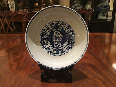 A Rare Chinese Qing Dynasty Blue and White Porcelain Bowl, Marked.