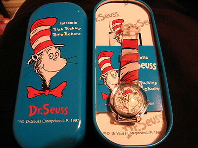 Dr Seuss Cat In The Hat Red & Black Watch Time Ticker Brand New Very Rare