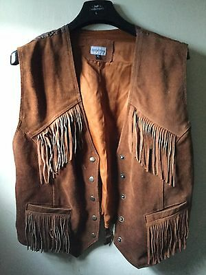 Brown Genuine Leather/suede Country & Western Waistcoat Fringing Detail - Xl 44""
