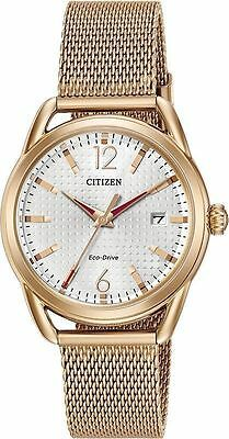 Citizen ECO-DRIVE FE6083-72A BRAND NEW Women's LTR Rose Gold Wht Dial Watch