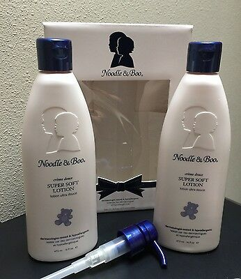 Qty 2 Large 16 Oz Noodle & Boo Super Soft Lotion Face And Body New Pump Set Gift