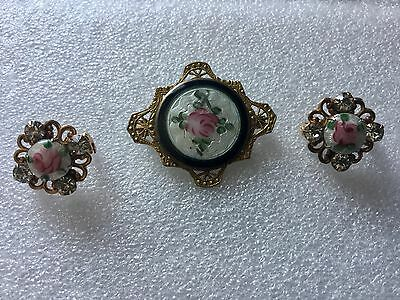 STUNNING 1930's GUILLOCHE BROOCH LOT ROSE ENAMELED 1 SIGNED PAT.2066969 2 SMALL
