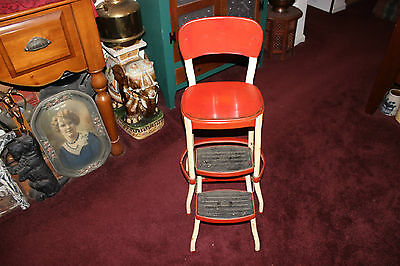 Vintage Cosco Metal Step Stool-Folding Steps-Red & White-Industrial-Kitchen