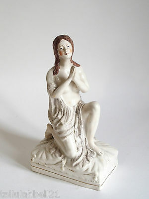 Fine antique Staffordshire figure of lady praying