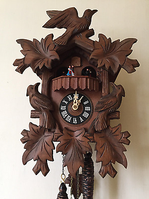 Black Forest Cuckoo Clock CUENDET With Carved Birds - READ DESCRIPTION!