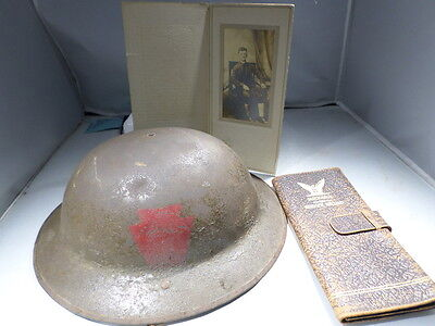 WWI VINTAGE 28th Infantry Division Helmet Photo Painted