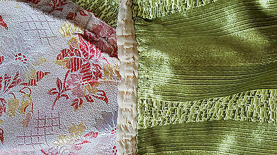Pair vintage (c.1950's) olive green satin curtains with vintage floral lining