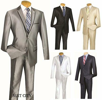 Men's Suit Single Breasted 2 Button 2 Piece Slim Fit Shark Skin Trimmed S2RR-4