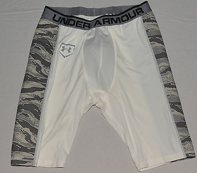 New Under Armour Men's Baseball Slider Short with UA Cup White / Camo