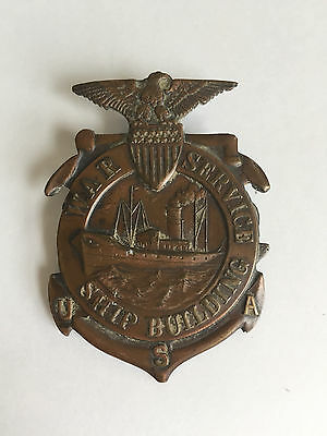 Wwi Navy War Service Ship Building Foreman Badge Numbered Merchant Marine Fleet!