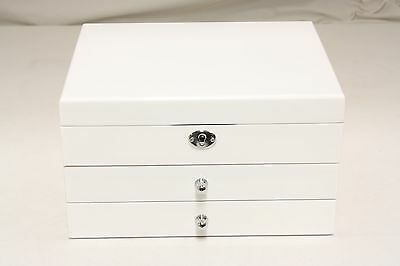 Luxury & Quality 3 Layers High Gloss Wooden Jewellery Box –JB3009WH - Pure White