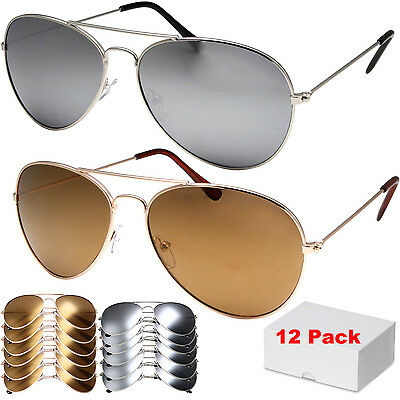 12 Pack Wholesale Lot of 12 Aviator STYLE Sunglasses Metal UV400 Silver Gold Mix