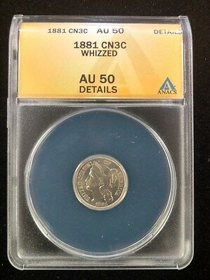 1881 Nickel 3 Cent graded by ANACS AU 50 details