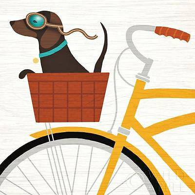 DACHSHUND SHORT SMOOTH HAIRED Retro Art Poster Print - Beach Bums Bicycle Basket