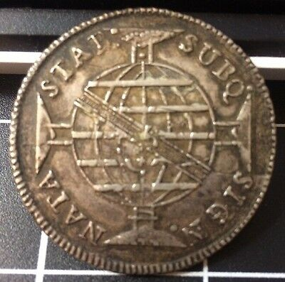 1814 960 Reis Brazil Silver Coin Struck Over 8 Reales Rare Currency
