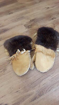 NEW HAND MADE Winter Native Mittens ( Smoked Deer leather and Beaver fur )