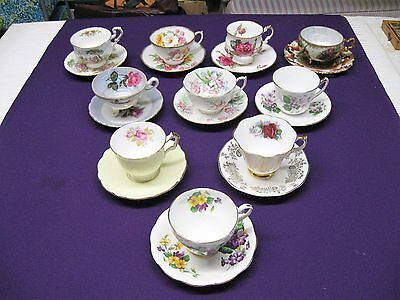 Lot of 10 Beautiful Vintage Tea Cups and Saucers