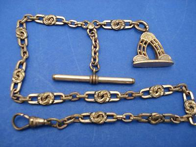 ANTIQUE GOLD FILLED  LINK w T Bar ORNATE FOB POCKET WATCH CHAIN #E
