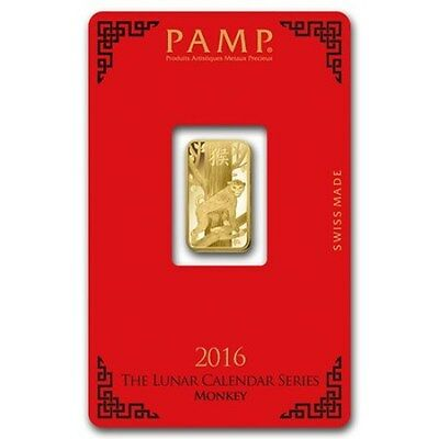 PAMP SUISSE 2016 Year of the Monkey 5g (gram) Gold Bar .9999 PURE