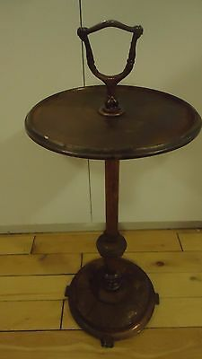 """Vintage Floor Ashtray Metal Stand Table  28.5"""" High Cast Iron Base"""
