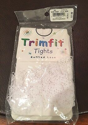 New Trim Fit Girls White Ruffled Lace Tights Size 6-18 Mths.