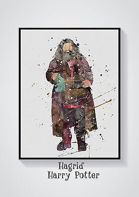 Hagrid Harry Potter  Watercolour Wall Prints - Sizes  10x8, A4, A3 Lots of Styes