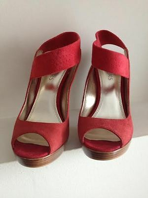 Women shoes Sandals high heels leather suede red size 6m