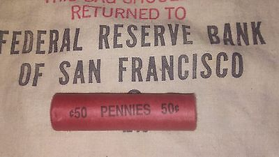 ONE UNSEARCHED - Lincoln Wheat Penny Roll 50 Cents - 1909 1958 P D S
