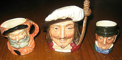 3  Royal Doulton Toby Jugs Mr Micawber Falstadd And Porthos Miniatures