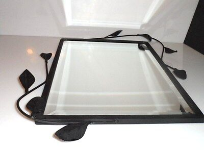 Painted Black METAL Framed MIRROR Wrought Iron SCROLL Design Home Decor