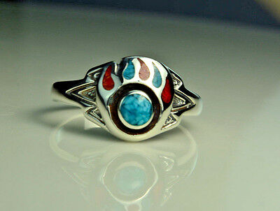 Sterling silver ring with inlaid Turquoise & Red Coral Bear Paw Size 7.5