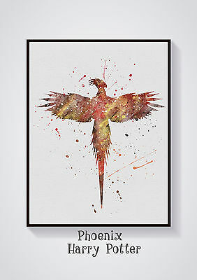 Phoenix- Harry Potter Watercolour Wall Prints -Sizes 10x8, A4, A3 Lots of Styes