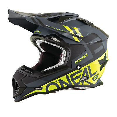 2018 Oneal 2 Series Spyde Off Road Dirt Bike Motocross Helmet BMX Black / HI-Viz