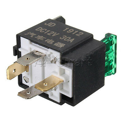 DC 12V 30A 4 Pin 4P Car Motor Automotive Boat Fuse Fused Relay & Metal Bracket A